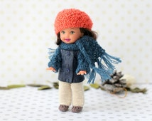 """4"""" doll outfit . Handmade doll clothes.Leather jacket with knitted sleeves and scarf. Beret and trousers for Kelly dolls.Small Doll Clothes."""