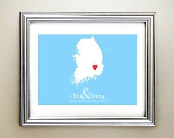 South Korea Custom Horizontal Heart Map Art - Personalized names, wedding gift, engagement, anniversary date