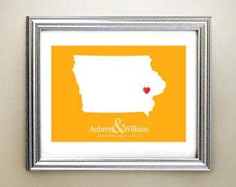Iowa Custom Horizontal Heart Map Art - Personalized names, wedding gift, engagement, anniversary date