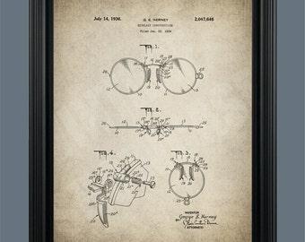 Vintage Eyeglasses Patent Print -  Optometry Patent - Spectacles - Glasses - Optician Wall Art - Optometrist Gift - Eye Glass Patent - #093