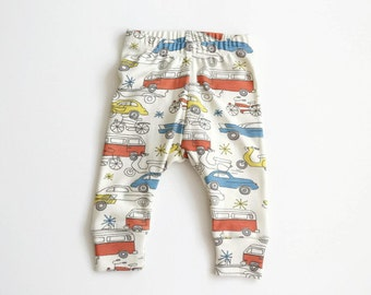 ON SALE Organic baby leggings. Comfy pants. Organic knit fabric with retro cars. Infant cuff leggings. Gender neutral. Birch 1950s cars knit