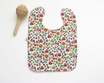 Large baby or toddler bib. White cotton with woodland animals. Red cotton back. Deer, toadstools. Shower gift. Gender Neutral. Ready to ship