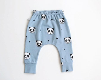 Baby infant harem pants with pandas. Light blue jersey knit. Slim fit harem pants with cuffs. Jersey knit fabric. Infant pants.