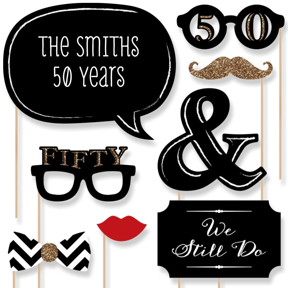 50th Anniversary 20 Piece Anniversary Photo Booth Props Kit