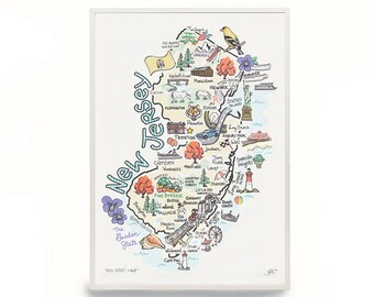 """New Jersey Map, 9""""x12"""" New Jersey Print, Unframed, Print Signed by Artist, Printed on watercolor paper"""