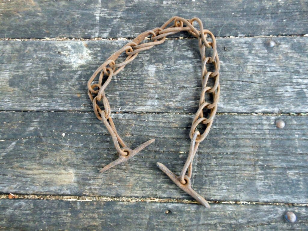 Antique Farm Chain : Vintage rustic horse harness chain rusty farm salvaged