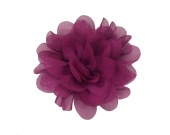 "3.75"" Scallop Hair Flowers, Wholesale Scallop Flower Heads for Flower Head Bands, Lot of 1, 2, 5 or 10, Plum"