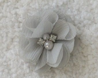 "2"" Colorful Pearl & Rhinestone Flower Heads, Wholesale Pearl Flowers for Flower Head Bands, Embellishment, Lot of 1, 2, 5 or 10, Grey"