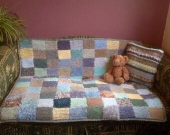 Seaside Sofa Throw. Knitted Sensory Blanket.