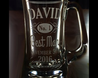 Custom Etched Wedding Party Beer Mug - Groom, Best Man, Groomsman Father of the Bride / Groom. Engraved - Birthday / Anniversary