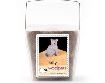 Needle Felting Kit, Needle Felted Animal - Kitty Cat