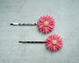2 hair clips large flowers Pink Silver