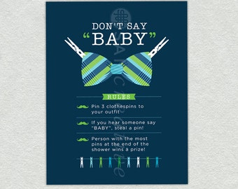 Printable Little Man Baby Shower Game- Printable Baby Shower Games - Paperclip Game - Don't Say Baby - Baby Boy Baby Shower - Little Man Bab