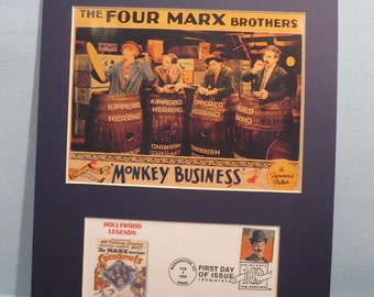 """The Marx Brothers in """"Monkey Business"""" and the First Day Cover of Charlie Chaplin dedicated to their honor"""