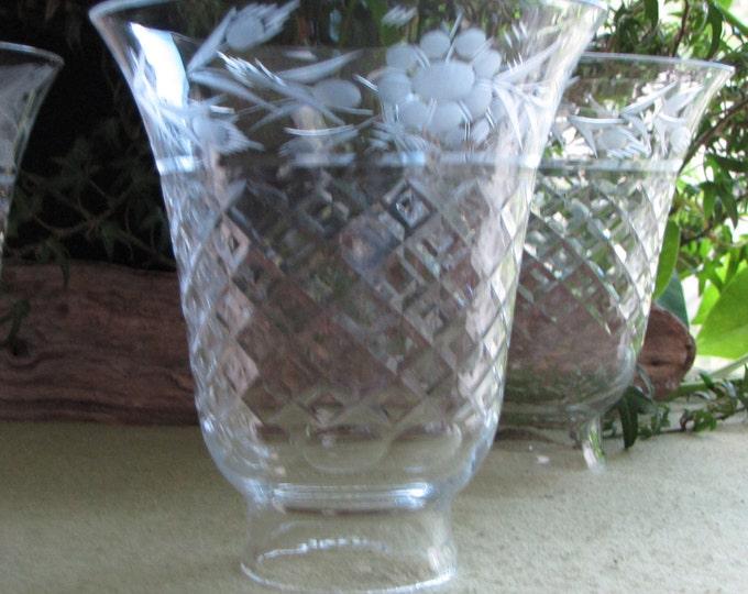 Etched Glass Sconces Set of Four (4) Vintage Lighting Chimneys or Lamp Shades
