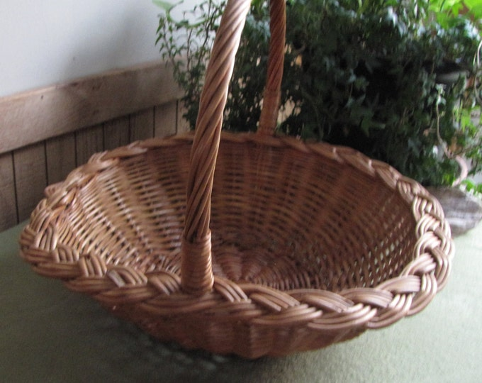 Vintage Woven Brown Wicker Basket Small Gathering Or Garden Trug