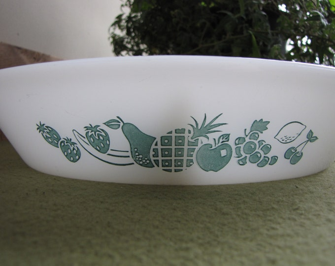 Glasbake Casserole or Vegetable Serving Bowl Divided Dish Teal Fruit Designed Ovenware