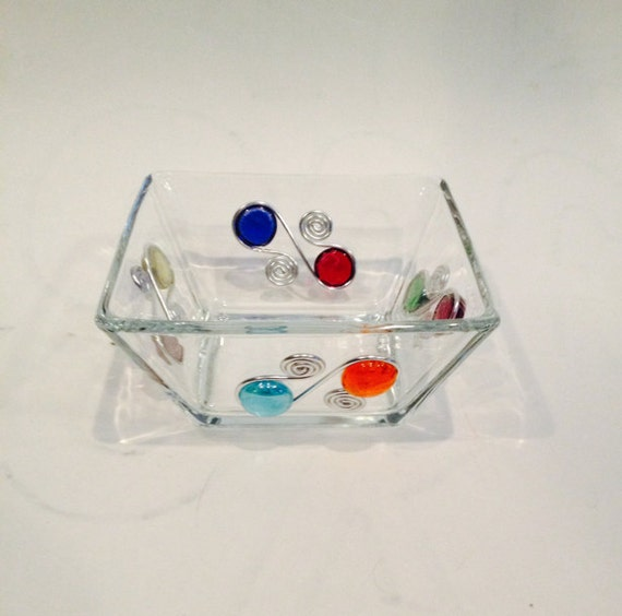 """Beaded Square Dip/Candy Bowl #2,  Beaded Bowl, Glass Bowl, Condiment Bowl, Wire Wrapped Bowl, Hostess Gift, Salsa Bowl, Candy Bowl,6"""" Bowl"""