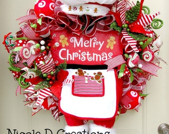 Christmas Wreath- Gingerbread Man Wreath- Holiday Wreath- Deco Mesh Wreath- Front Door Wreath- Character Wreath