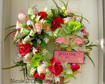Flamingo Wreath Etsy