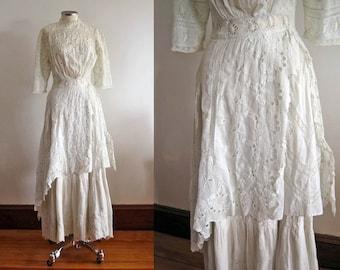 Edwardian Wedding Dress /  1900s Tea Gown / Broderie Anglais / Cotton Whitework / XXS