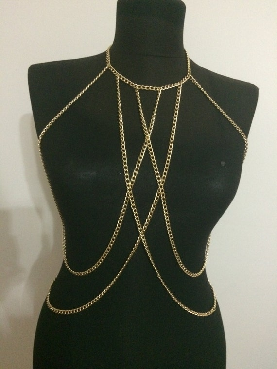 Gold body chain body necklace body harness body jewelry