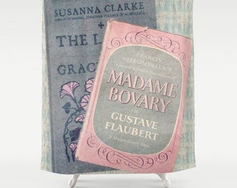 Pink and Gray Books Shower Curtain: home decor, bathroom, Madame Bovary