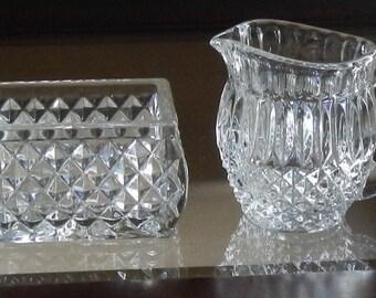 Miniature Vintage Glass Cream and Sugar Set!