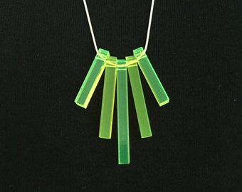 """Bold Rectangles Statement Necklace Fluorescent Acrylic Sterling Silver 30"""" Snake Chain. Green Glow Fluro laser cut. Made in the UK."""