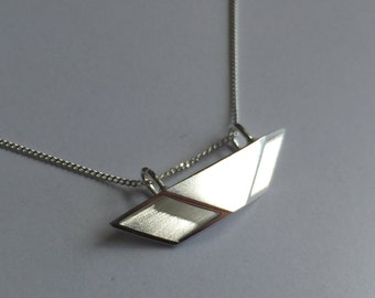 Origami Sterling Silver Pendant. Contemporary Statement Necklace. Precious Elegant Necklace. Sterling Silver Curb Chain. Made in England.