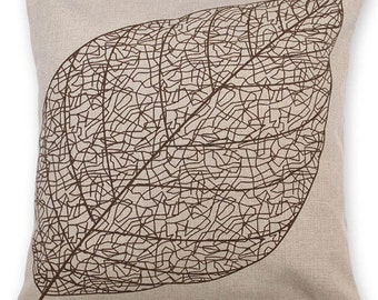 Linen Leaf Pillow Cover