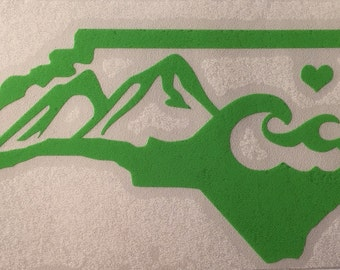 North Carolina Vinyl Decal - Bumper Sticker - State of North Carolina - Mountains and Waves