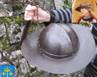 Saint Joan D'Arc Saturnus Helmet ?! La Chapeau De Fer De Saint Jeanne D'Arc ?! 15th Century Forged Iron Kettle Hat !  Champaign France !!!!