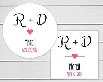 Wedding Thank you Stickers, Personalized Wedding Stickers, Merci Labels, Envelope Seals  (#163)