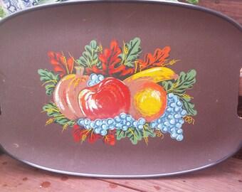 Vintage 1960s Wood Composite Handled Serving Tray with Harvest Theme / Fruit Platter