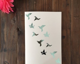 Origami notebook Mint green metallic