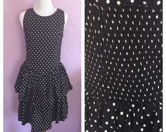 Vintage Black and White Polka-Dot Dress. Vintage Cotton Polka-Dot Dress. Black Vintage Dress w/ Ruffle Skirt. Early 90's Party Dress.