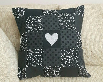 Music Lovers Patchwork Pillow