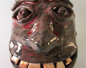 Stoneware Southern Folk Art Face Jug