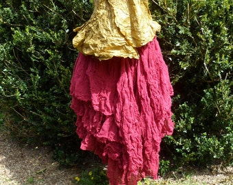 Artist mid-length skirt sculptural, sophisticated, refined - women SKIRT size adjustable