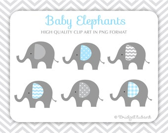 Baby Elephant clip art, Elephant clip art, baby shower clip art, baby boy clip art, Commercial Use Clip Art, 6 PNG Images, INSTANT DOWNLOAD