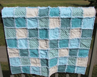 Baby Rag Quilt Teal and Cream Soft Flannel