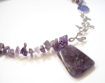 Amethyst Sterling Silver Druzy Agate Necklace Big Amethyst Stone  Pendant Unique Amethyst Precious Stones Birthstone Necklace