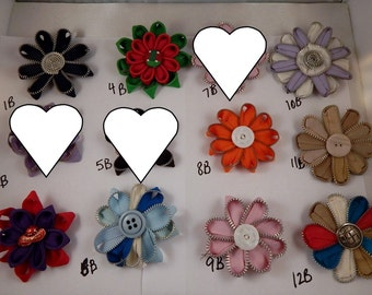 Zipper Flowers PIn Back Pick Any 3 for 5 dollars SALE