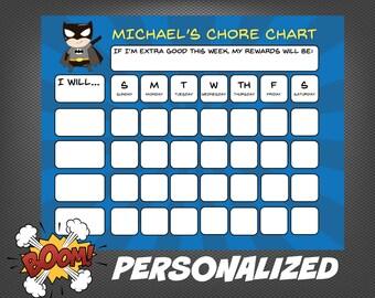 PERSONALIZED Superhero Batman My Chore Chart Boy Theme Behavior Chart Printable Routine Chart