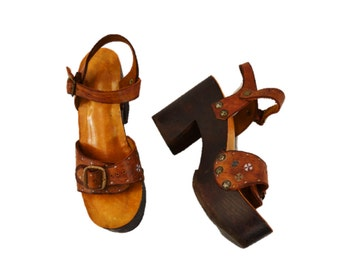 70s wooden platform sandals wood high heels leather bohemian boho womens size 8  hipster indie