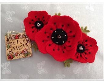 Poppy flower headband