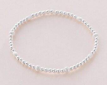 Sterling Silver Beads Stacking Bracelet, Silver Balls Stackable Bracelet on Stretch Elastic