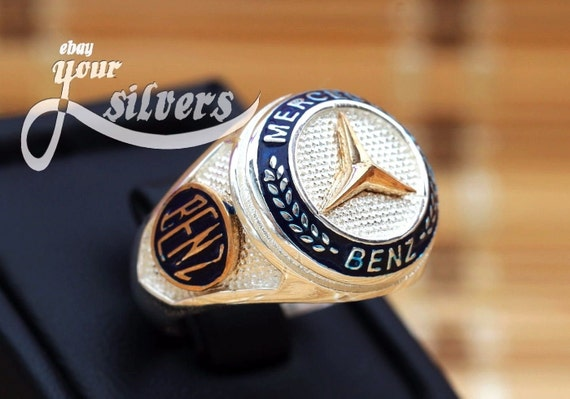 Mercedes benz men ring sterling silver 925 luxury by for Mercedes benz ring