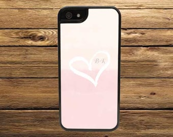 Custom Cell Phone Case, Heart with Initials Light Pink - iPhone 6/6s, 6/6s Plus, 5/5s, 5C, 4/4s - iPod 6 5 4 - Samsung Galaxy S6 S5 S4 S3